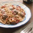 Spaghetti Meatballs in Tomato sauce with Parmesan - Stock Photo