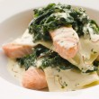 Open Lasagne of Salmon and Spinach with a Saffron Cream - Photo