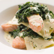 Open Lasagne of Salmon and Spinach with a Saffron Cream - Stockfoto