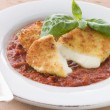 Fried Breaded Mozzarella Cheese with Tomato Ragu — Stock Photo #4753545
