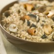 Bowl of Wild Mushroom Risotto - Stock Photo