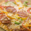Pepperoni and Pepper Pizza — Stock Photo