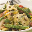 Roasted Vegetable Ravioli with Pesto Dressing Sun Blushed Tomato - Stock fotografie