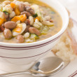 Tuscan Bean Soup with Crusty Bread - Stock Photo
