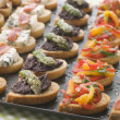 Selection of Crostini — 图库照片