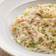 Bowl of Crab Linguini with Chilli and Coriander — Lizenzfreies Foto