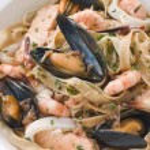Bowl of Seafood Tagliatelle — Stock Photo
