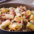 Pan of Rigatoni Pasta with Tomato and Pancetta Sauce — Stock Photo