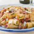 Stock Photo: Rigatoni Pastwith Tomato and PancettSauce