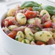 Bowl of Gnocchi with a Bacon Tomato and Basil Dressing - Foto de Stock  
