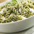 Bowl of Fusilli Pastdressed in Pesto with ParmesShaves — Stock Photo #4753742