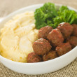 Royalty-Free Stock Photo: Tomato Meatballs with Parmesan Polenta and Broccoli