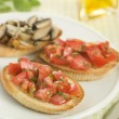 Foto Stock: Plate of VegetariBruschetta