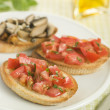 Plate of VegetariBruschetta — Stockfoto #4753784
