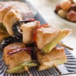 Yakitori Skewers with Sukiyaki Sauce and Rice Crackers - Stock Photo