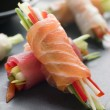Sashimi and Vegetable Rolls with Soy Sauce - Stock Photo