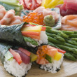 Seafood and Vegetable Hand Rolled Sushi — Stock Photo