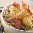 Bowl of Tempura Tiger Prawn and Udon Noodle Broth with Yellow Fi — Stock Photo