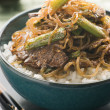 Sweet Soy Beef Fillet With Shirakaki Noodles on Rice with Shichi - Stock fotografie