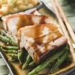Roast Belly Pork with Fuji Apples and Peanut Beans — Stock Photo #4753859