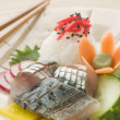 Sashimi of Mackerel with Pickled Daikon Salad and Vinegar Rice - Stock Photo