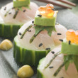 Sashimi Of Sea bass with Avocado and Salmon Roe - Stock fotografie