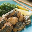 Spiced Fried Mackerel with Lemon - Stock Photo