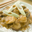 Chicken and Mushroom Curry With Koshihikari Rice - Stock fotografie