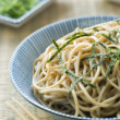 Bowl of Chilled Soba Noodles with Wasabi — Stock Photo