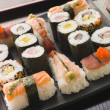 Selection of Seafood and Vegetable Sushi on a Tray — Stock Photo