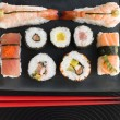 Selection of Seafood And Vegetable Sushi With Chopsticks — Stock Photo