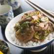 Wok Fried Pork and Ginger Cabbage on Rice — Stock Photo