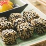 Fried Tofu with Sesame Seeds Daikon Pickled Ginger and Ponzo Sau — Stock Photo