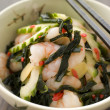 Tiger Prawn Wakame and Cucumber Salad with Ginger - Stock Photo