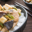 Chicken and Mushroom Donburi with Fried Tofu - Stock Photo