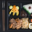 Teppanyaki Lunchbox with Chopsticks - Stock Photo