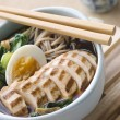 Chargrilled Chicken Soba Noodle and Miso Soup - Stock Photo