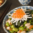 broad bean daikon and salmon roe — Stock Photo