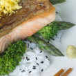Citrus Salmon Fillet on Rice Steamed Vegetables with Sesame and — Photo