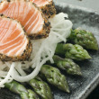 Stock Photo: Seared Salmon Sashimi Black Pepper with Mouli and Asparagus Sa