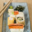 Stock Photo: Plated Sushi with Wasabi Sushi Ginger and nori