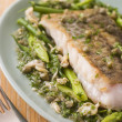 Fillet of Hake with Cockles Green Vegetables and Salsa Verde — Stock Photo