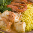 Saute of Monkfish Prawns and Rice with Pimento Cream — Stock Photo #4754052