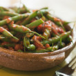 Stock Photo: Green Beans with Tomato Salsa