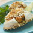 Plated Txangurro-Stuffed Crabs - Foto Stock