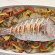 Whole Roasted Bream with Chilies Potatoes and Peppers — Stock Photo #4754192