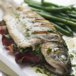 Whole River Trout with Jamon and Herb Butter — Foto Stock