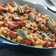 Chickpeas Chorizo Sausage and Sage — Stock Photo