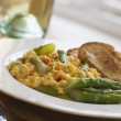 Scrambled Egg and Asparagus with Toasts — Stock Photo