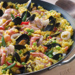 Seafood Paella in a Paella Pan - Stock Photo